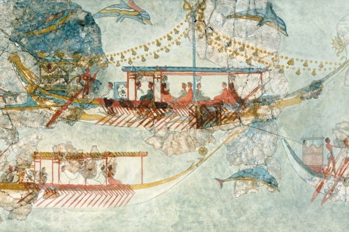 Minoan ships depicted in a wall fresco from remains at Thera (Santorini)