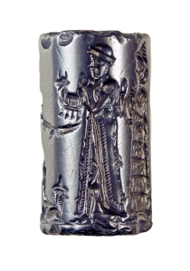 Cylinder Seal from the Old Babylonian Period depicting the king making a sacrifice to Shamash. Formerly of the Charterhouse Collection, London.