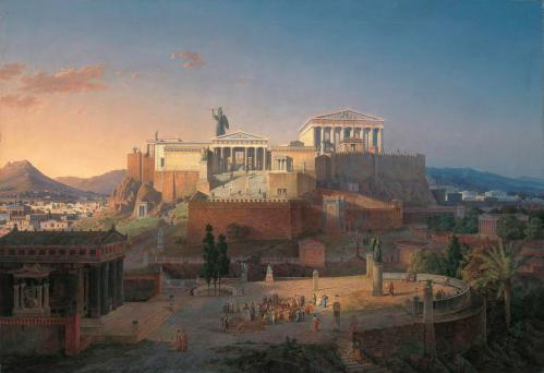 Reconstruction of the Acropolis and Areus Pagus in Athens by Leo von Klenze, 1846. Neue Pinakothek, Munich.